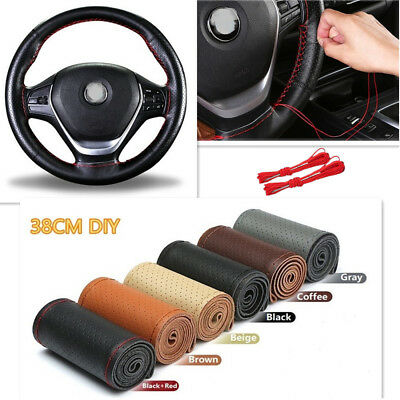 Beige Genuine Leather Auto Car DIY Steering Wheel Cover With Needles and Thread