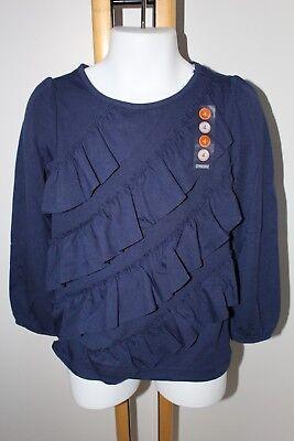 Gymboree FLIGHT OF FANCY Girls Navy Blue Ruffle Long Sleeve Tee NWT 4 5 6 7 8