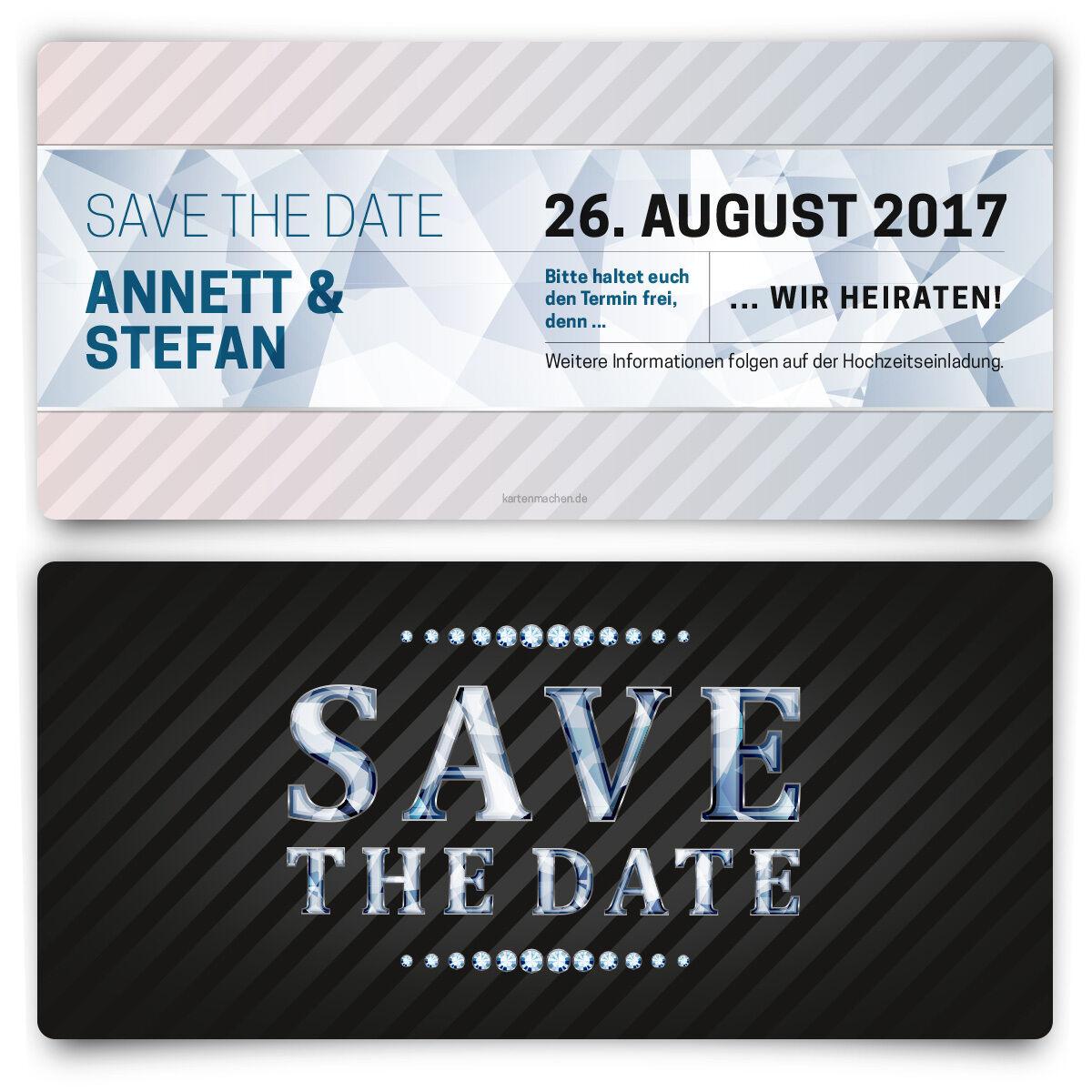 Save the Date Karten zur Hochzeit - VIP Diamant Blau - Hochzeitskarten   | Tadellos  | Qualität