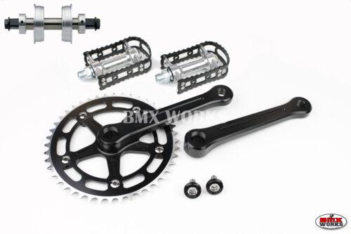 ProMX BMX 3 Piece Aluminium Cranks Set Black /& MKS BM-7 Pedals /& Bottom Bracket