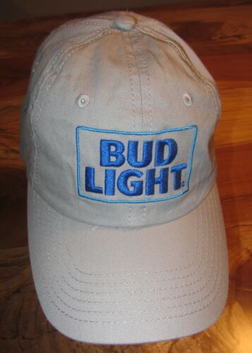 EUC Snapback Gray Budweiser Bud Light Beer Mens Cap or Hat Embroidered