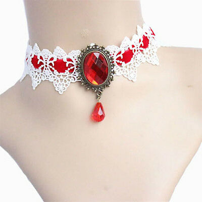 Vintage Style Bridal White Lace & Red Gothic False Collar Choker Necklace N369