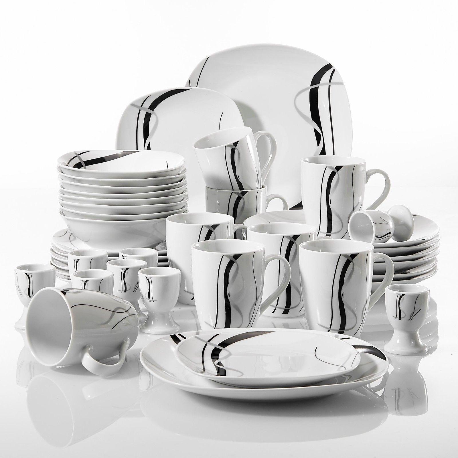 40 Pezzi Cena Set Stoviglie Stoviglie Servizio Sala da pranzo per 8 piatti ciotole tazze