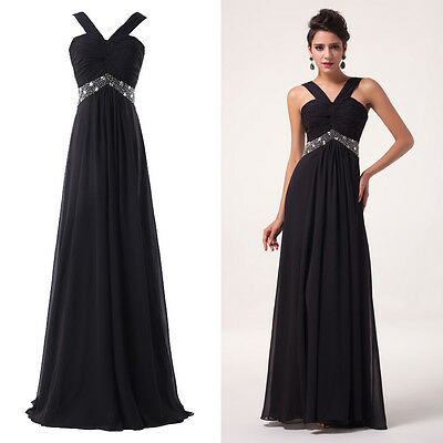 BLACK+Vintage Long Formal Women Bridesmaid Evening PROM Wedding Ball Gown Dress