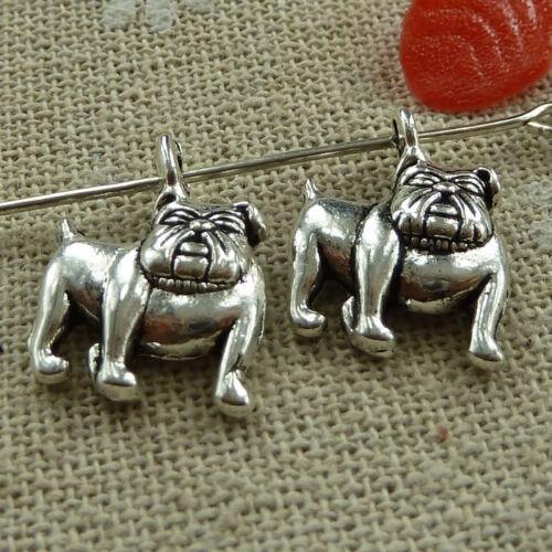 Free Ship 360 pieces tibetan silver bulldog charms 18x13mm L-1635