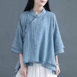 5d0331417b5e9 Women Blouse Tops Vintage Linen Gauze Shirt Chinese Traditional Frog ...
