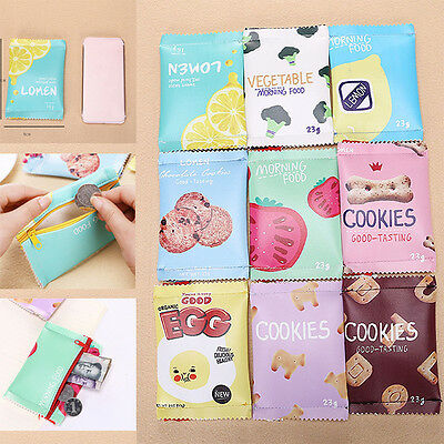 Womens Girls Snacks Coin Purse Leather Wallet Bags Change Pouch Key Card Holder