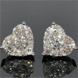 Charm-White-Sapphire-CZ-Heart-Stud-Earrings-925-Silver-Women-Wedding-Jewelry-NEW