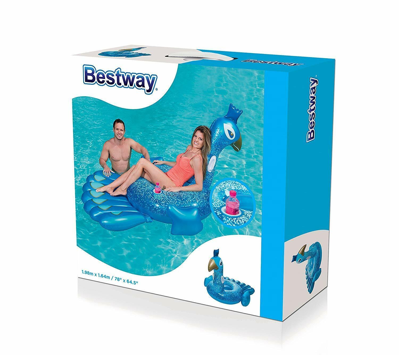 Bestway Schwimmtier Pfau 198 x 164 cm ab 14 Jahren Poolliege Wassermatratze