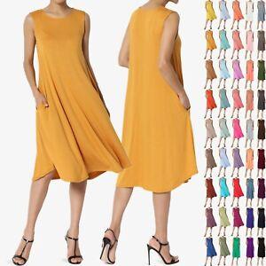 TheMogan-Women-amp-PLUS-Sleeveless-A-line-Fit-amp-Flare-Midi-Long-Dress-With-Pockets