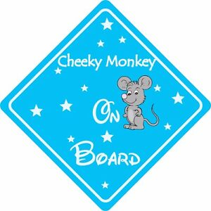 Cheeky Monkey On Board Green Suction Safety Fun Car Display Window Badge Sign