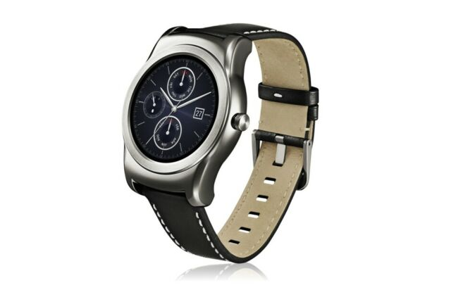 LG W150 Urbane SmartWatch with Leather Band - Silver/Black