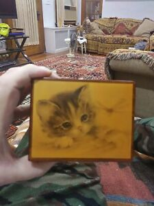 Vintage Handmade Reuge Cat Wooden Musical Jewelry Box  plays The Entertainer