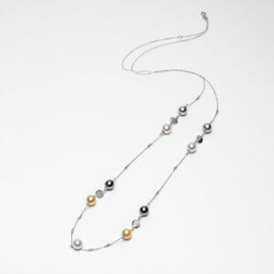"""Multicolor!Akoya&Tahitian&South Sea Pearl Long Necklace 14K White Gold Chain 36"""""""