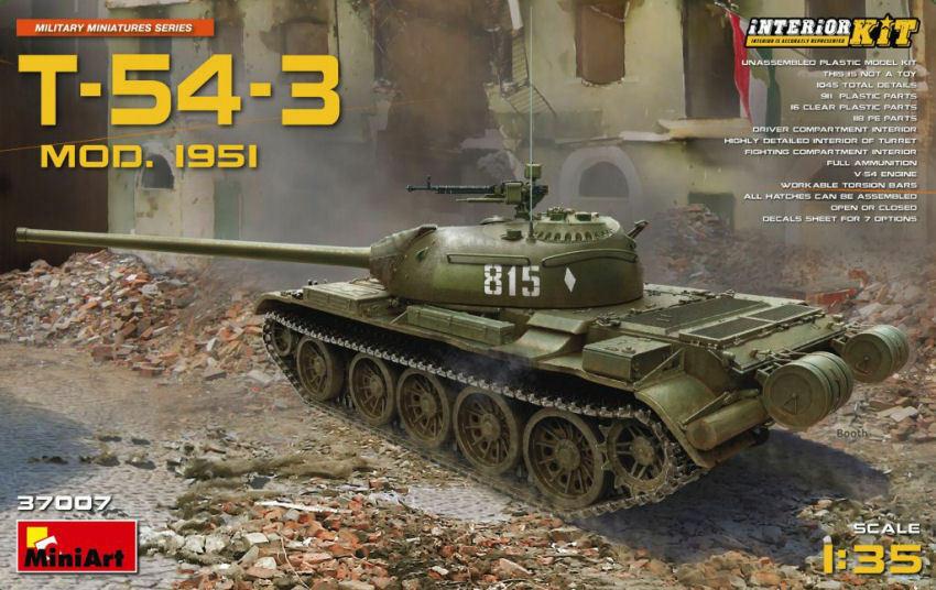 T-54-3 T-54-3 T-54-3 Soviet Medium Tank Mod.1951 Plastic Kit 1 35 Model MINIART 6615b6