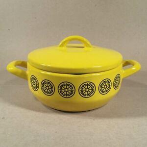 1960s-Enameled-Yellow-amp-Black-FISSLER-ASTA-DESIGNER-COOKWARE-Germany-Casserole