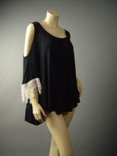 Open Shoulder Crochet Flare Sleeve Pagan Gypsy Boho Loose 141 mv Blouse S M L XL