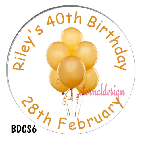 Personalised White Birthday Circle Stickers Labels Colourful Balloon Design