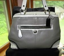 #COACH LOT 2 LAURA LEATHER CARRYALL/WALLET METALLIC GRAY SILVER tote purse bag