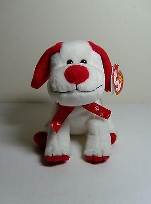 2008 Valentine Day TY Original Beanie Babies HeartBeat White/Red Dog Puppy HT/TT