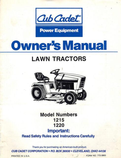 Cub Cadet 1215,1220 Lawn Tractor Owner's Manual on 1215 cub cadet parts diagrams, 1215 cub cadet belt diagram, cub cadet 1250 wiring diagram,