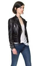 Zara Black Leather Biker Jacket With Quilted Sleeves Size M BNWT