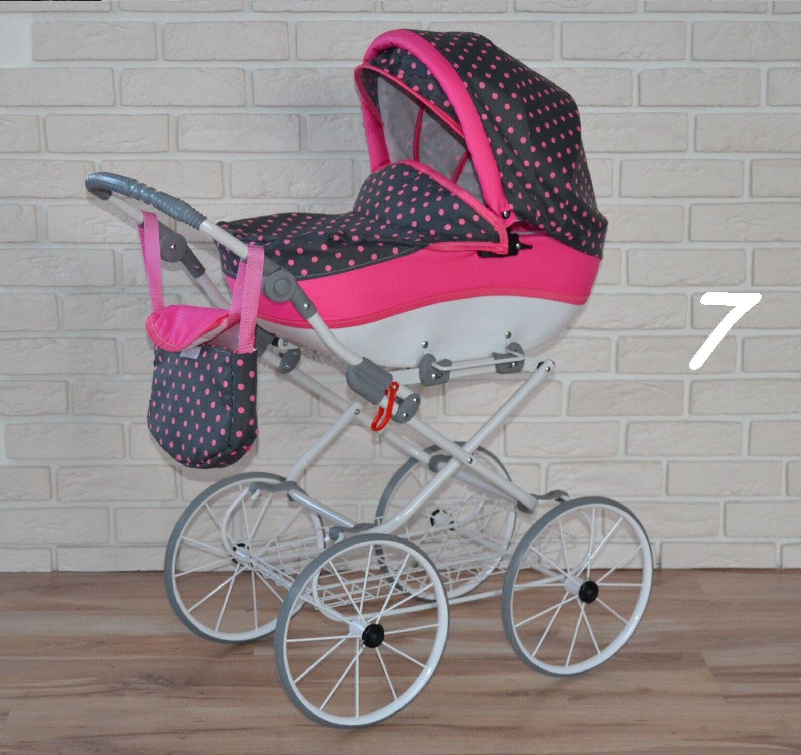 (Nr.0jul7)  Retro Puppenwagen mit verstellbarer Griffhöhe Neu