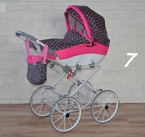 Retro Puppenwagen mit verstellbarer Griffhöhe Neu Babypuppen & Zubehör Puppenwagen Nr.0jul7
