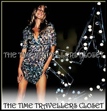TOPSHOP KATE MOSS ICONIC BARBED WIRE OLIVE SILK PANSY TEA DRESS & SLIP UK 8 10