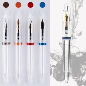 1X Plastic Transparent Clear Eyedropper Fountain Pen Fine Nib 0.5mm Writting Pen