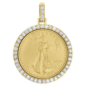 22K-Gold-American-Eagle-Liberty-Coin-1-4-Oz-Diamond-Mounting-Pendant-1-06-CT