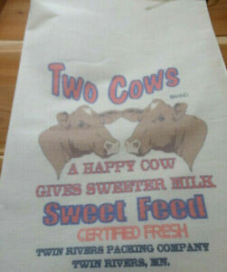 RL-47-TWO-COWS-Flour-Bag-Sack-Feed-Seed-Novelty-Collectible