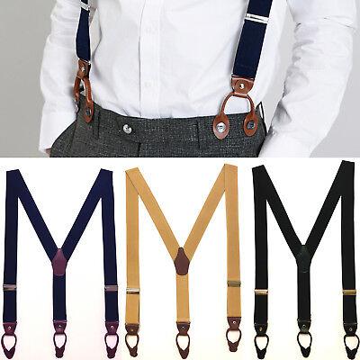 Mens Leather Elastic Suspenders Y-Back Button with Holes Adjustable Belt Braces