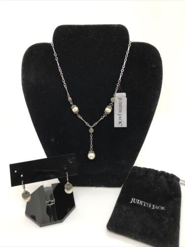 Vintage Judith Jack Marcasite Faux Pearl Necklace