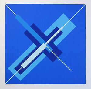 Frantisele Kyncl-diagonale in blu. a mano firmati colore SERIGRAFIA, domberger.
