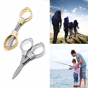 Plegable Camping acero inoxidable tijeras llavero pesca tijera cortador Mini