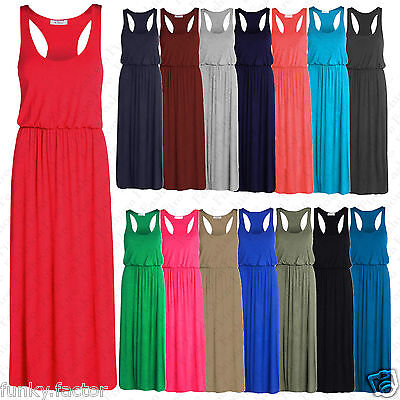 2019 Neuer Stil Womens Ladies Muscle Racer Back Toga Balloon Long Maxi Dress Summer Dress Uk8-14 Exquisite Traditionelle Stickkunst