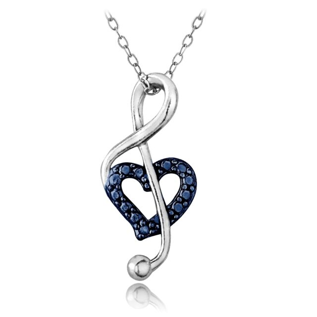 925 Silver Blue Diamond Accent Music Note Heart Necklace