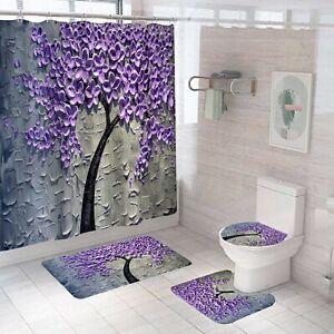 3D-Floral-Bathroom-Rug-Set-Shower-Curtain-Bath-Mat-Non-Slip-Toilet-Lid-Cover