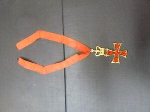Vintage-Dura-Albanileria-Medalla-Collar-Bufanda-Francs-Masones