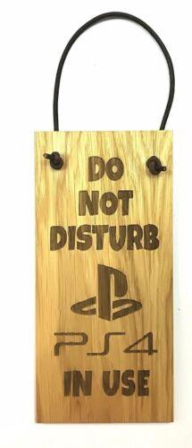 PLAYSTATION DO NOT DISTURB Oak VeneerWooden Plaque Door Hanger Sign 9x19cm