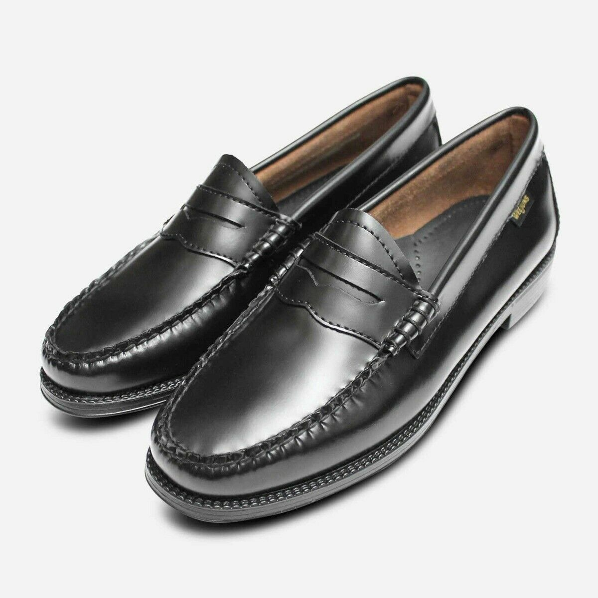 Bass Weejun II Loafers in Black Leather with Rubber Sole