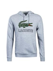 Lacoste Big Croc Logo Hoodie # SH6342 51 CCA Grey 2019 New Style Men SZ S 3XL