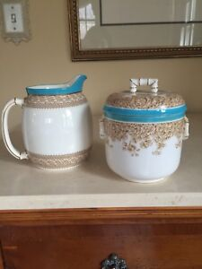Antique-Royal-Worcester-Set-Covered-Jar-And-Pitcher-Turquoise-Trim-Floral-RARE