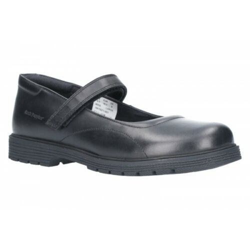 Hush Puppies TALLY Girls Kids Touch Fasten Mary Jane Leather School Shoes Black