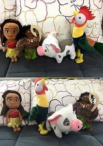"""New Moana 4 pieces 12"""", 8"""" Maui Pua pig Heihei chicken Cartoon Soft Plush Toys"""
