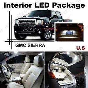 For Gmc Sierra 1500 2500 3500 07 13 White Led Interior Kit White License Light Ebay