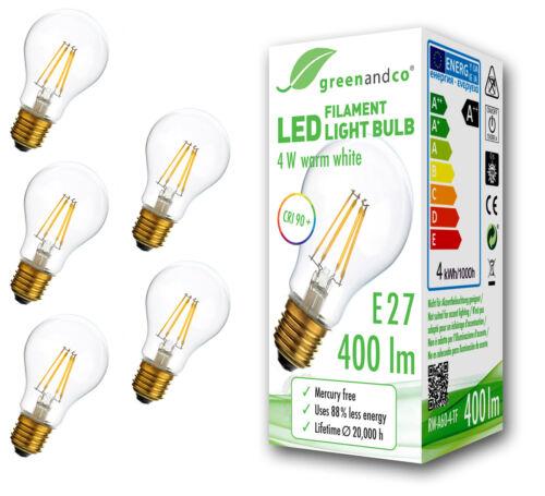 Glühfaden LED Lampe CRI90 flimmerfrei E27 4W ersetzt 35W 400 lm warmweiß 360°