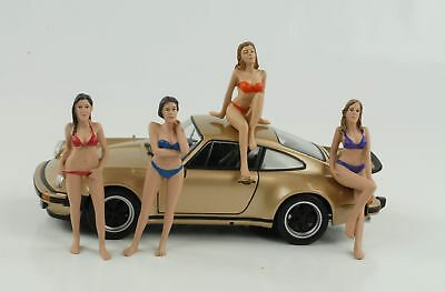 1:24 Figura Set 4 Pezzi Calendario Girls Ii Bikini American Diorama No Car