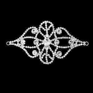 120mmX70mm-Rhinestone-Silver-Motif-Crystal-Sew-On-Applique-Bridal-Dress-Patch